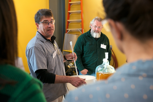 UC Davis winemaker Chik Brenneman leads a group at the Honey and Pollination Center's Mead Making Bootcamp. In back is Bruce Leslie, of Griffin Mead fame.