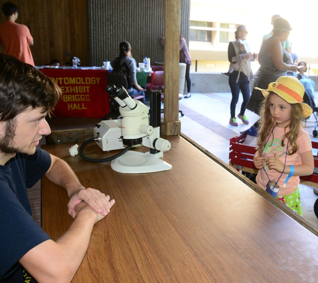 Lilliana Philips, 5, of Carmichael, listens intently as Bug Doctor Zachary Griebenow answers her question: