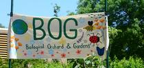 The Biological Orchard and Gardens (BOG) sign features floral and insect designs. It's located by the Mann Laboratory, UC Davis campus. (Photo by Kathy Keatley Garvey) for Bug Squad Blog