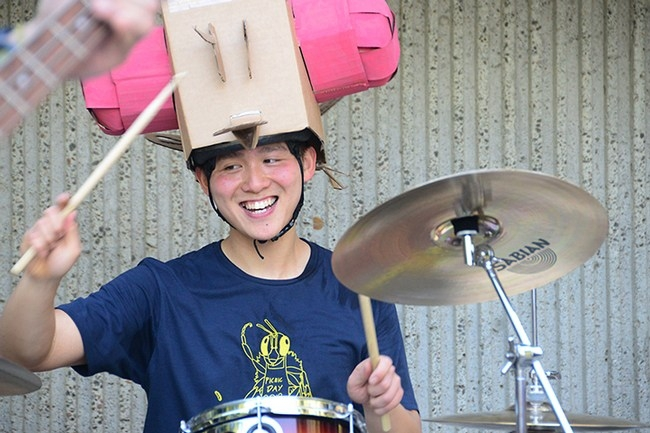 "Yao-""Fruit-Fly""-Cai has been playing drums since age 17. (Photos by Kathy Keatley Garvey)"
