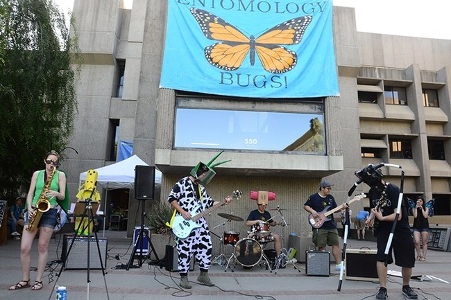 The Entomology Band performing in front of Briggs Hall. From left are Jill Oberski, Zach Griebenow, Brendon Boudinot, Yao Cai, Wei Lin, Jackson Audley and Christine Tabuloc.