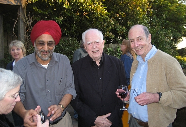 Distinguished professor John Casida (center) with his former graduate students Sarjeet Gill (left), a distinguished professor at UC Riverside, and Bruce Hammock, a distinguished professor at UC Davis. This image was taken in 2016 at UC Berkeley.