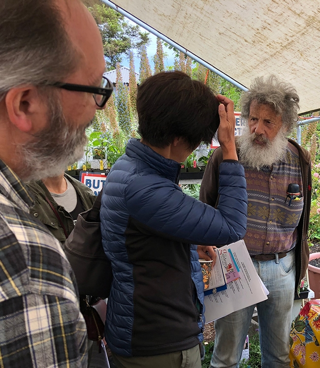 Art Shapiro, UC Davis distinguished professor of evolution and ecology, fields questions at the May 26 Butterfly Summit, held at Annie's Annuals and Perennials, Richmond. (Photo by Kathy Keatley Garvey)