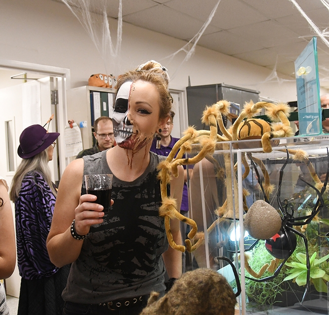 Entomology graduate Danielle Wishon said it took her four hours to do this make-up. (Photo by Kathy Keatley Garvey)