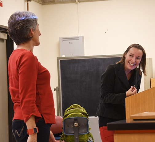Jessica Gillung and her major professor, Lynn Kimsey, share a laugh prior to Gillung's exit seminar. (Photo by Kathy Keatley Garvey)