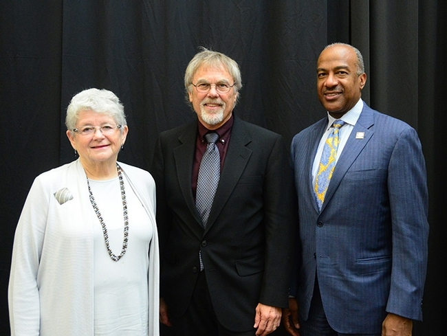 From left are distinguished emerita professor M.R.C. Greenwood, chair of the UC Davis Emeriti Association Awards and Recognition Committee; distinguished emeritus professor Robert E. Page Jr., and UC Davis Chancellor Gary S. May. (Photo by Kathy Keatley Garvey)