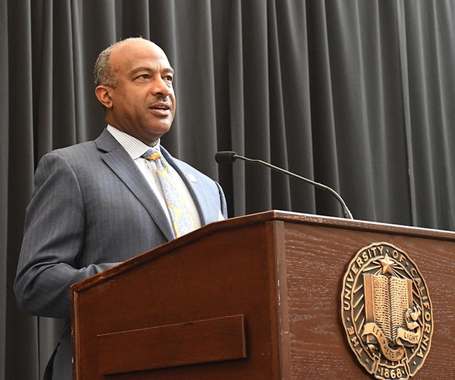 UC Davis Chancellor Gary S. May addresses the crowd. (Photo by Kathy Keatley Garvey)