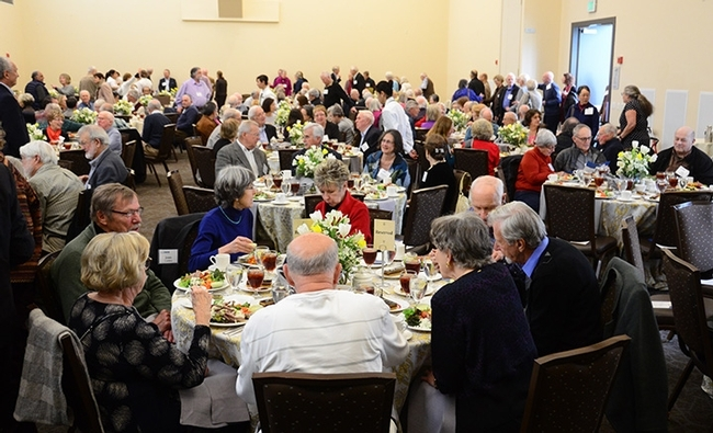 The crowd at the annual Academic Retiree and Emeriti Award Luncheon. (Photo by Kathy Keatley Garvey)