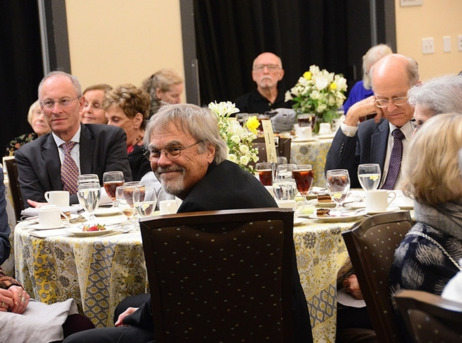 Honey bee geneticist Robert E. Page Jr. (foreground) drew praise and applause at the luncheon. (Photo by Kathy Keatley Garvey)