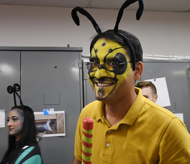 This was the first Halloween party for visiting scholar Syed Fahad Shah, a lecturer in the Department of Entomology, University of Agriculture, Peshawar, Pakistan. (Photo by Kathy Keatley Garvey)