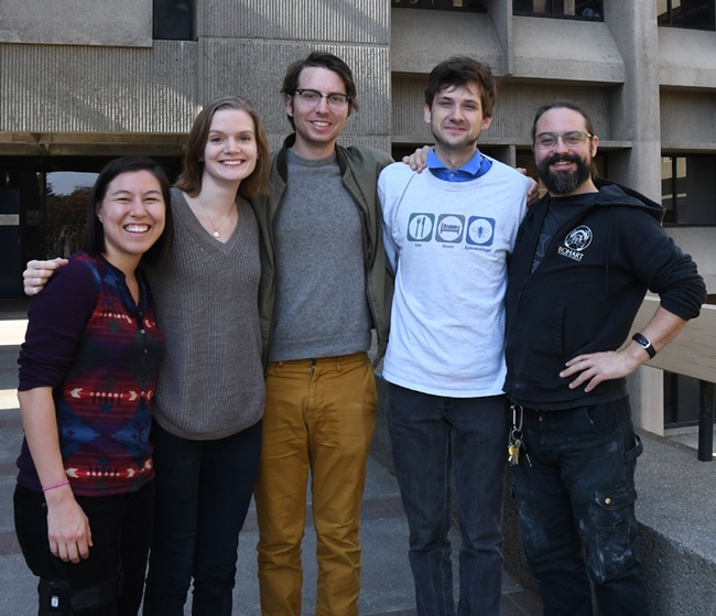 The UC Linnaean Games Team includes (from left) Hanna Kahl, Jill Oberski, Miles Dakin, Zach Griebenow and Brendon Boudinot, all in the doctoral program, UC Davis Department of Entomology and Nematology. Not pictured: captain Ralph Washington Jr., who received his bachelor's degree in entomology at UC Davis and is now a graduate student at UC Berkeley. (Photo by Kathy Keatley Garvey)