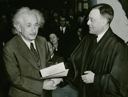 "GERMAN-BORN physicist Albert Einstein (left), shown here accepting American citizenship in 1940, never said ""If the bee disappears from the surface of the earth, man would have not more than four years to live,"