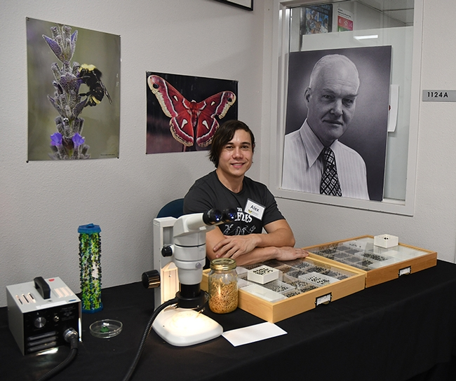 Forensic entomologist and doctoral student Alexander Dedmon awaits visitors. Behind him is a portrait of Professor Richard Bohart (1913-2007), founder of the Bohart Museum of Entomology. (Photo by Kathy Keatley Garvey)
