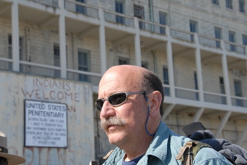Robert Kimsey, recipient of the PBESA Distinction in Student Mentoring Award. He's pictured here at Alcatraz, site of some of his projects. (Photo by Kathy Keatley Garvey)
