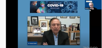 Dr. Robert Gallo discussed vaccines at the UC Davis-based COVID-19 Symposium on June 3. (Screen shot) for Bug Squad Blog