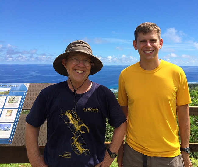 UC Davis emeritus professor Hugh Dingle, wearing a Bohart Museum t-shirt, and then doctoral student Micah Freedman, did monarch research on Guam.