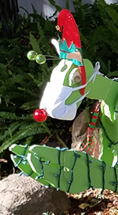 All masked up and ready to go. The Kimsey family's praying mantis replaces Rudolph the Red-Nosed Reindeer. (Photo by Lynn Kimsey)