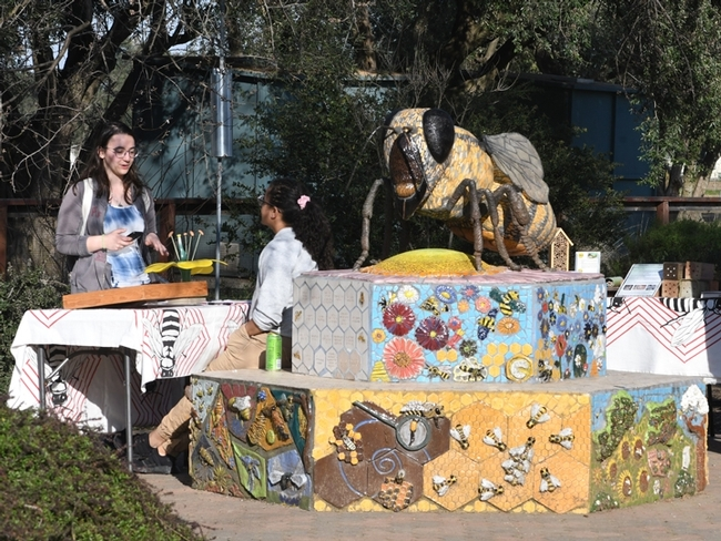 Miss Beehaven, a sculpture of a worker bee by artist Donna Billick of DAvis, anchors the Häagen-Dazs Honey Bee Haven on Bee Biology Road, part of the UC Davis Department of Entomology and Nematology. (Photo by Kathy Keatley Garvey)