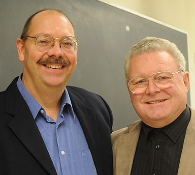 The late USDA/UC Davis chemical ecologist Steve Seybold (left), shown here with Wittko Francke at Francke's UC Davis seminar in December 2010, was also memorialized. (Photo by Kathy Keatley Garvey)