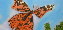A painted lady, Vanessa cardui, flutters away in this prize-winning work of artist Roberto Valdez. He won best of show in the professional fine arts category, oils and acrylics, at the 2021 Dixon May Fair. for Bug Squad Blog