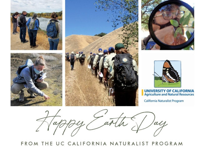 Happy Earth Day Greetings collage from the California Naturalist program featuring people enjoying nature outdoors.