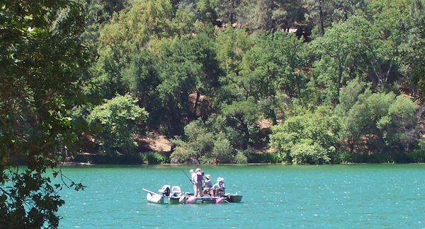 Sampling sediments in Zaca Lake. Photo by Matthew Kirby.