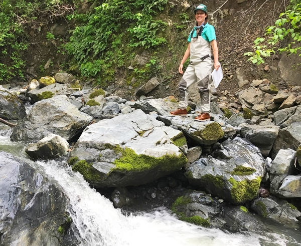 Graduate researcher Emily Cooper pauses as she navigates a stream during field surveys. Photo by Heather Navle.