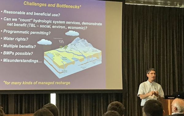 Andrew Fisher on challenges and bottlenecks for managed aquifer recharge in California. Photo by Faith Kearns.