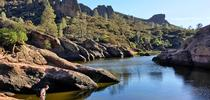 Albert Ruhi explores new field sites at Pinnacles National Park. Photo by Nuria Pla. for The Confluence Blog