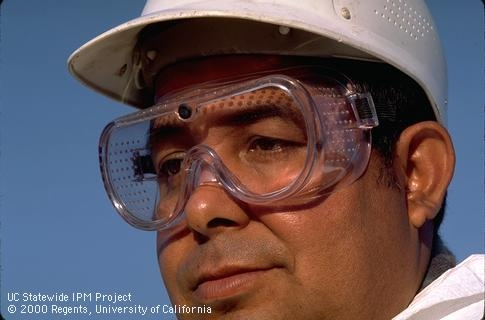 Protective goggles used to protect eyes during mixing and applying pesticides, ANR