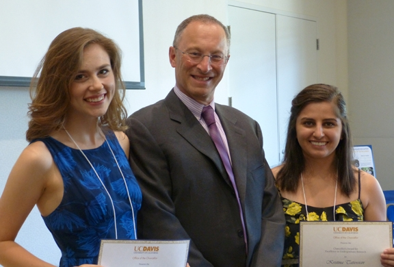 Kristina Tatiossian (far right) with Provost Ralph Hexter and Lindsey Black. (Photo courtesy of UC Davis Undegraduate Education)