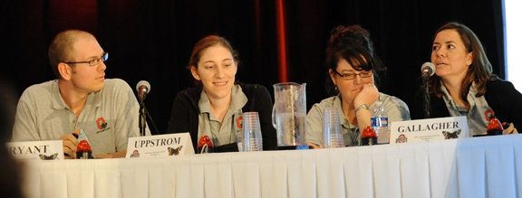 Glene Mynhardt (far right) of the Ohio State Linnaean Team correctly answers a question during the UC Davis-Ohio State competition. The two teams tied several times before Ohio went on to win. Ohio later advanced to the championship game and defeated the University of Nebraska. From left are Ohio State team members Joshua Bryant, Kaitlin Uppstrom, Nicola Gallagher and Glene Mynhardt as they battle UC Davis.