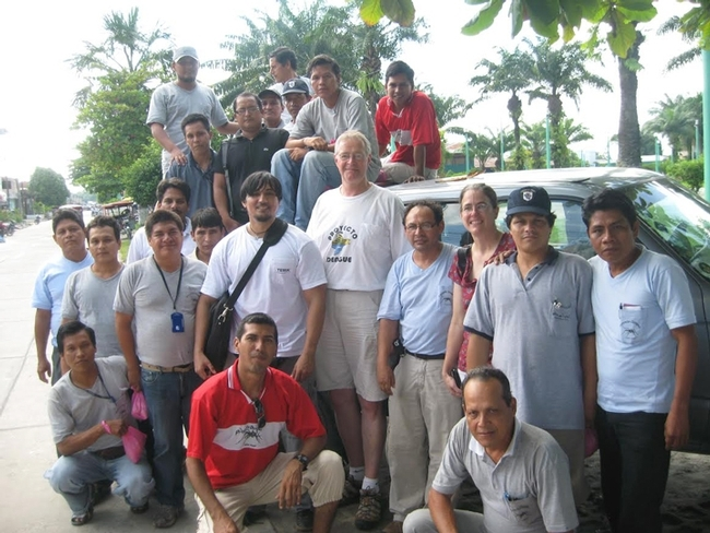 Thomas Scott (second row, center) and his field site director Amy Morrison with their mosquito collector and data management teams in Iquitos, Peru. (Photo courtesy of Thomas Scott lab)