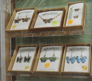 Lots of insect-themed jewelry at the Bohart Museum. (Photo by Kathy Keatley Garvey)