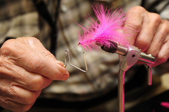 Close-up of fly-tying. (Photo by Kathy Keatley Garvey)
