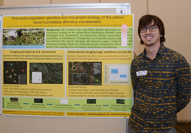 Fourth place went to UC Davis graduate student John Mola for his poster on bumble bees. (Photo by Kathy Keatley Garvey)