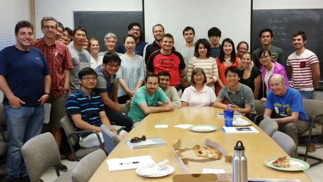 The Hammock lab honored Shirley Gee at her last lab meeting in June. Gee is seated in front. Seated at the far right is Bruce Hammock, distinguished professor of entomology.