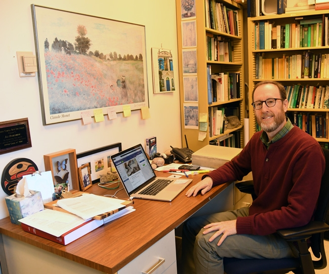 Jay Rosenheim in his office in Briggs Hall, UC Davis. (Photo by Kathy Keatley Garvey)