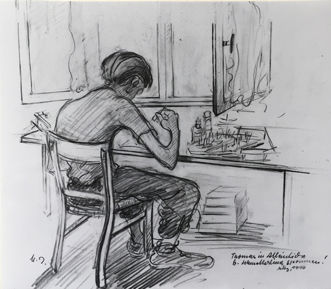 Tom Eisner at age 11 pinning insects. This is a sketch by his artist mother, Margarete Heil-Eisner.