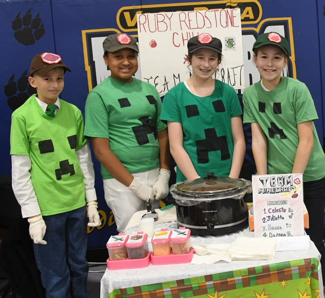 Celeste Harrison served as a member of the Sherwood Forest 4-H Club's Chili Team for two years. Members of the 2018 team that prepared Ruby Redstone Chili were (from left)  Darren Stephens, Celeste Harrison, Julietta Wynholds and Hanna Stephens. (Photo by Kathy Keatley Garvey)