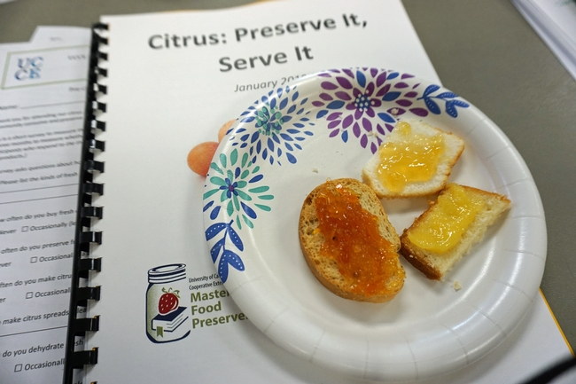 Class participants tasted spiced orange jelly, lemon curd and orange marmalade.