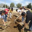 Students at work in the UCR Community Garden