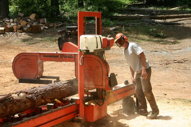 Rob York with portable saw mill