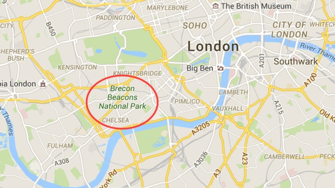 the gorgeous brecon beacons was erroneously positioned outside of downtown london the technical error has directed people searching for the national park