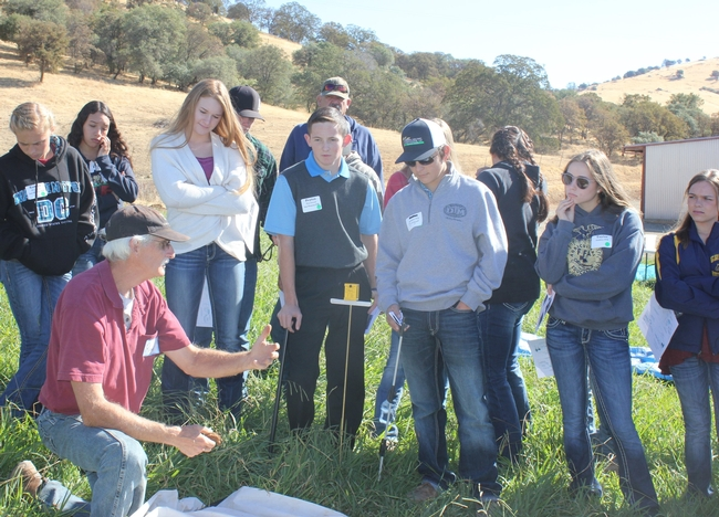UCCE Farm Advisor, Roger Ingram, evaluates soil properties with students