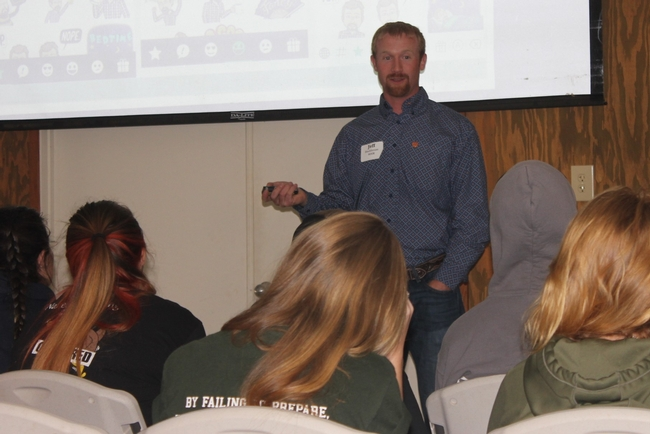 Farm Advisor, Jeff Stackhouse speaks to students about the use of technology in livestock and wildlife management