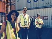 Observing Container Loading with Tour Director, Dr. Beth Mitcham