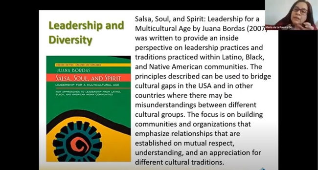 Dr. Maria de la Fuente's presentation 'Increasing Diversity in the UC Master Gardener Program' included recommendations of DEI informed leadership and organizational development. Pictured here is Juana Bordas' Salsa, Soul, and Spirit: Leadership for a Multicultural Age.