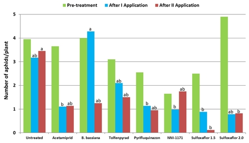 2012 Broccoli aphid trial graphs-Pre and each spray-All aphids