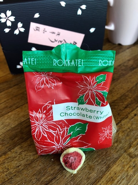 Freeze dried strawberries in white chocolate from Japan.